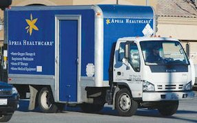 Apria home healthcare truck: company has $2 billion in yearly revenue