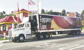 Golden State Foods  truck outside McDonald's