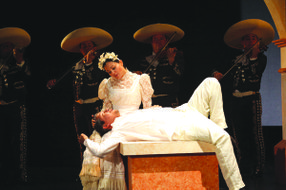 """A scene from """"Cruzar la Cara de la Luna""""  (To Cross the Face of the Moon).  Performances at the San Diego Opera March 16 at 2:00 p.m. and 7:00 p.m."""