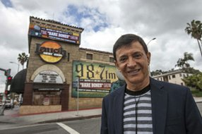 Owner Jamie Masada outside his Laugh Factory Hollywood comedy club.