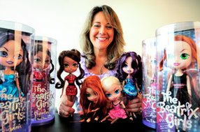 Sherry Gunther with Beatrix Girls dolls at Popstar Club in Westwood.