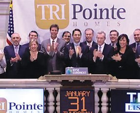 Good start: Chief Executive Doug Bauer and Tri Pointe execs rang NYSE bell, got strong reception Jan. 31