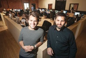 Rounding Into Shape Co-founders Zach James and Rich Raddon at Zefrs office in Venice in a January 2013 photo