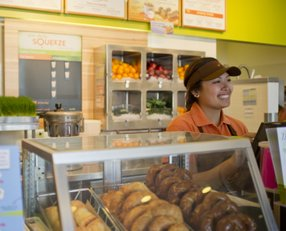 A Jamba Juice team member serves a customer -- photo courtesy of Jamba Juice Co.
