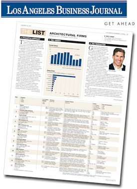 Receive A FREE Copy Of The LABJ Top Architectural Firms List (pdf Download)  Featuring The Top 25 Firms Ranked On 2011 Billings In Los Angeles County,  ...
