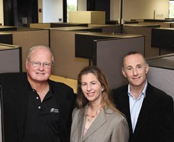 From left,  CommNexus' Rory Moore is working with EvoNexus' Cathy Pucher and Rick Kornfeld to gear up for EvoNexus' official opening Nov. 2.