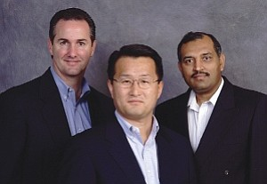 Netlist executives Chris Lopes, left, Hong, Jay Bhakta: shifting focus to specialized memory