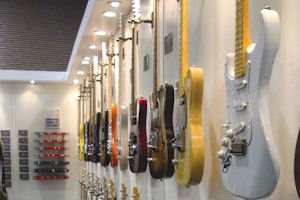 Fullerton-based G&L Guitars' display: company part of BBE Sound in Huntington Beach