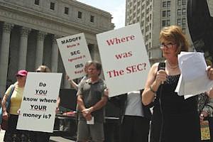 New York demonstration at Bernard Madoff's sentencing: fallout from Ponzi schemes upping firms' regulatory work