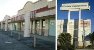 Vacant: Corbin Village in Woodland Hills, left, and Wickes Furniture in Van Nuys.