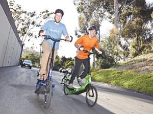 Brent Teal, left, and Bryan Pate co-founded ElliptiGO Inc., which makes the ElliptiGO 8S, a cross between a bicycle and an elliptical workout machine found in most fitness facilities.