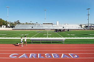 The new 3,900-seat athletic stadium at Carlsbad High School is among a series of renovations at the campus estimated to cost a total of $86 million.
