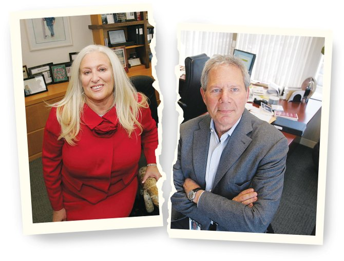 Linda Smith and Chuck Diamond in their respective offices at O'Melveny & Myers in Century City.