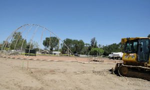 Early baseball field construction at Pioneer Park in Anaheim: part of Major League Baseball's All-Star Game push