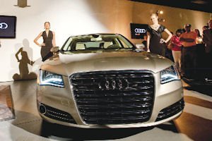 Luxury: The Audi A8 sedan making its debut in Woodland Hills.
