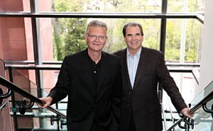 As the top executives at Websense, Gene Hodges, left, and John Carrington have front-row seats to hacker attacks, spam campaigns and other misbehavior on the Internet. Hodges is CEO. He succeeded Carrington in the job in 2006. Carrington is chairman.