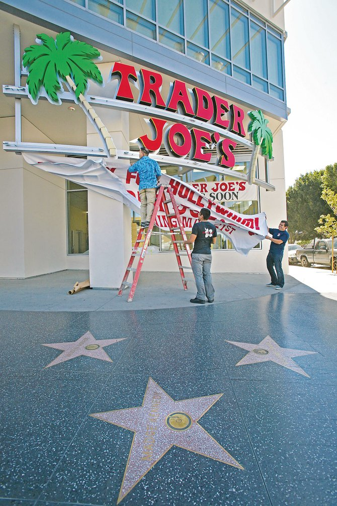 Banners go up to promote the store's debut on the Hollywood Walk of Fame.