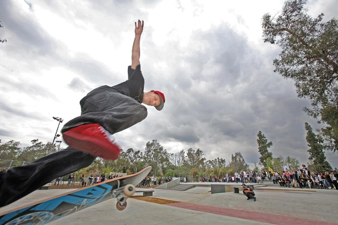 Rob Dyrdek of Dyrdek Enterprises performs at the grand opening of a North Hollywood skate park.