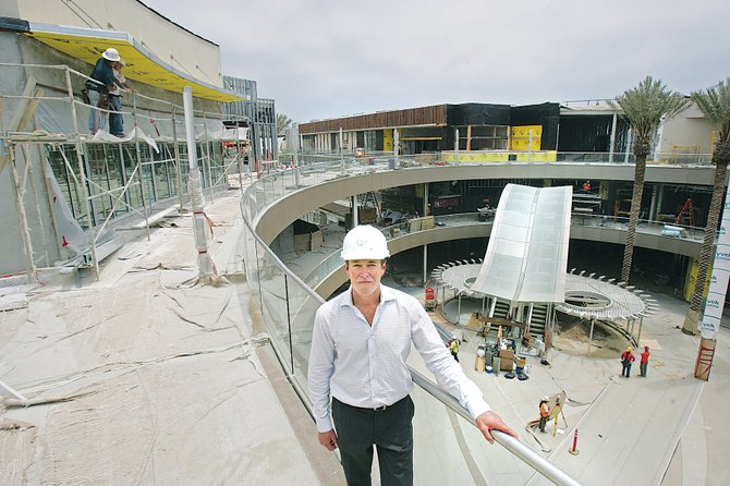 Doug Roscoe, property manager of Santa Monica Place, amid the renovation project.