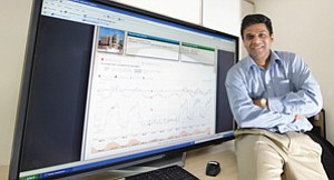 Yuvraj Agarwal displays the technology behind the SleepServer software he developed with fellow computer scientists at UCSD.