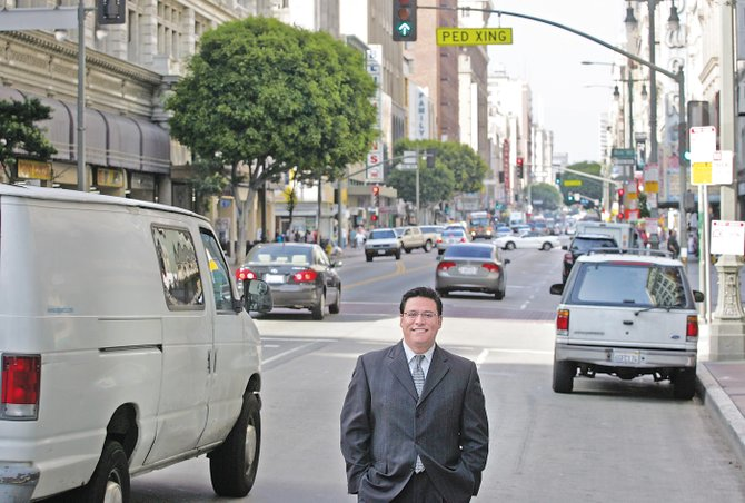 City Councilman Jose Huizar on Broadway in downtown L.A.
