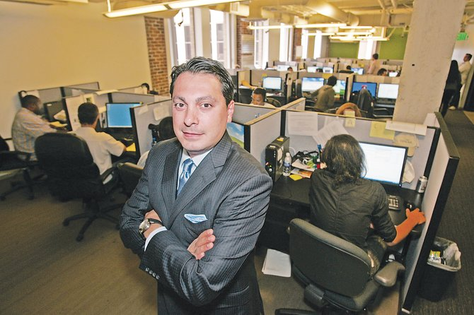 CyberDefender Chief Executive Gary Guseinov at the downtown L.A. headquarters of the computer services company.