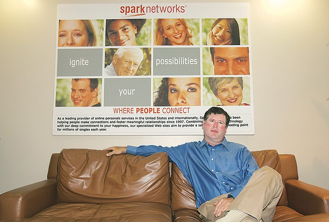 Spark Networks Chief Executive Adam Berger at the online dating company's Beverly Hills office.