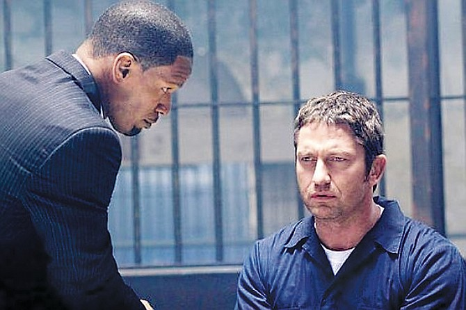 From left, Jamie Foxx and Gerard Butler in 'Law Abiding Citizen.'