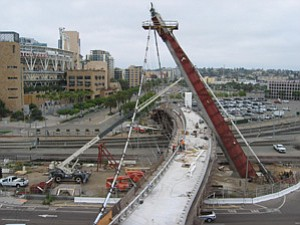 Work on the Harbor Drive Pedestrian Bridge is expected to be completed by November.