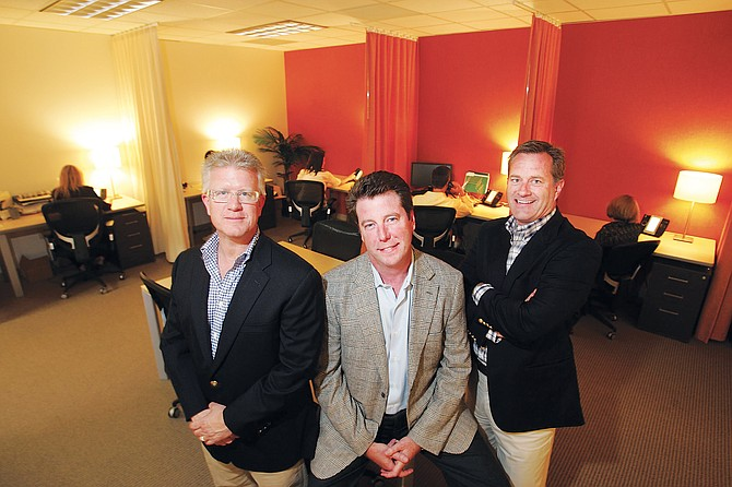 From left, Partners Trust's F. Ron Smith, Nick Segal and Hugh Evans at their Brentwood office.
