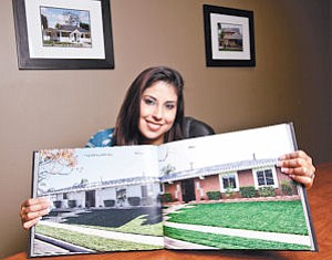 Beautify: Trixy Castro-Weiss with before and after shots of a foreclosed home that was fixed up with a loan from her company Genesis Capital.