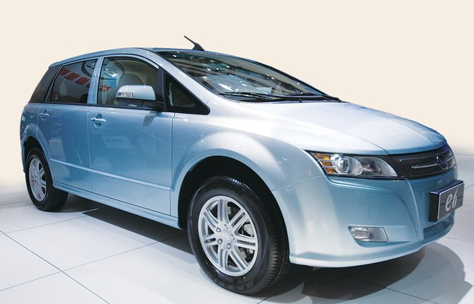 An e6 all-electric sedan by China's BYD.