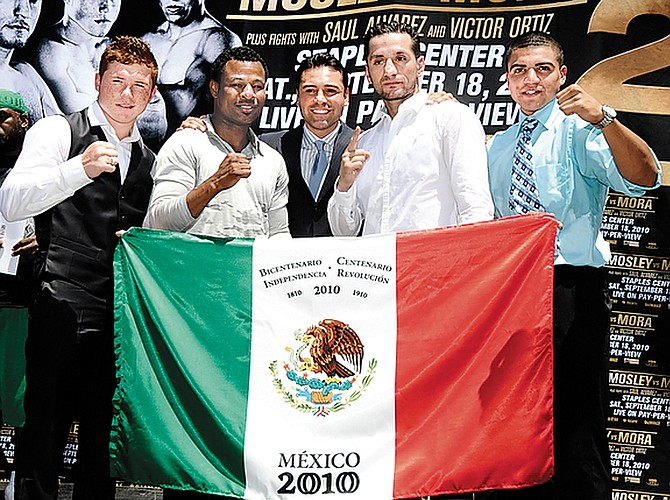 From left, Alvarez, Mosley, de la Hoya, Mora and Ortiz.