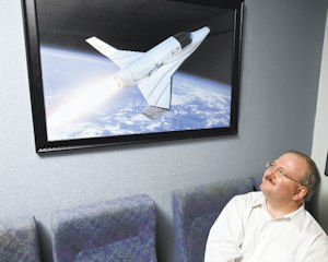 Space: Jeff Greason with a rendering of the Lynx, the two-seat suborbital spacecraft his company is building in Mojave.