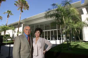 Stewart and Lynda Resnick at the Resnick Exhibition Pavilion at LACMA.