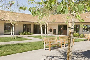 A redesigned education building at The Village Community Presbyterian Church in Rancho Santa Fe incorporates bright colors that blend with the traditional Spanish-style architecture.