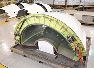 Thrust reversers, which are a major part of the nacelle systems made by Goodrich Aerostructures, await shipment to Boeing in Everett, Wash., for installation on the Boeing 787 Dreamliners.