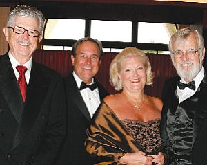 Founders David Emmes, left, Martin Benson, with Larry and Sophie Cripe: South Coast Repertory raised more than $500,000 at annual gala