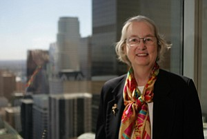 Nancy D. Sidhu, chief economist for the Los Angeles County Economic Development Corp., at LAEDC's downtown headquarters.