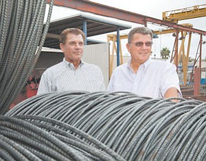 Selling: Twins Bob, left, and Ron Main are getting out of the rebar business. Their firm, Canoga Rebar, was bought by Bellis Steel.