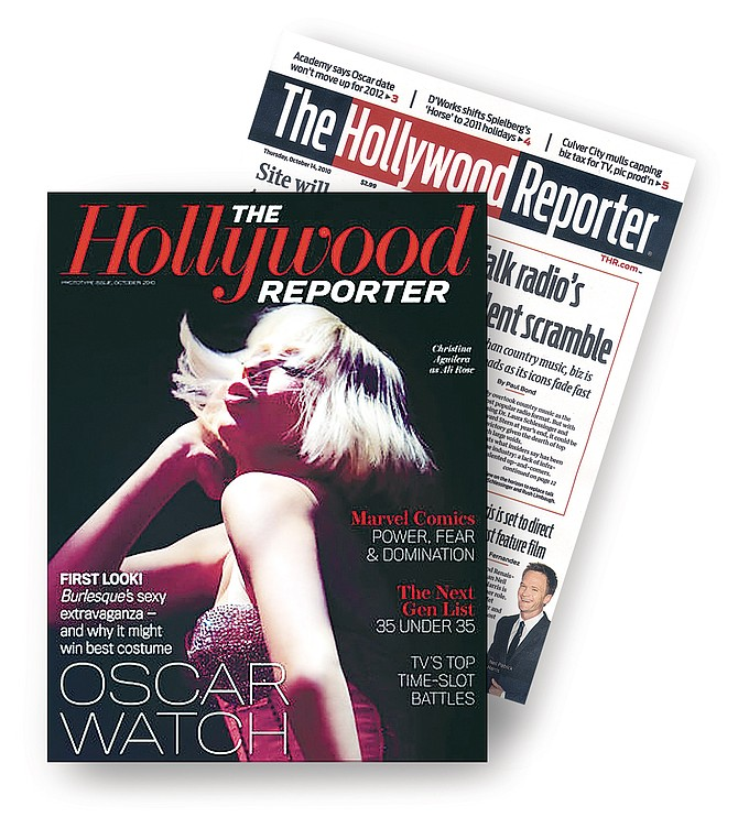 Prototype of Hollywood Reporter's new magazine, left, compared with the old model.