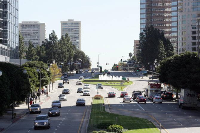 Century City intersection where business community wants subway stop.