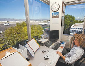 View: Kathy Berger works operations at Van Nuys Airport.