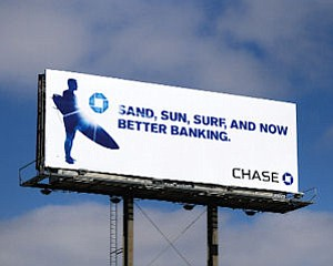 Chase billboard: part of campaign introducing New York bank to California