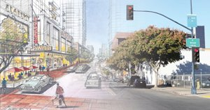 This image features a rendering with a preliminary design for Upper East Village development on the left, and a current photo looking north on 16th Street from E Street in San Diego on the right.