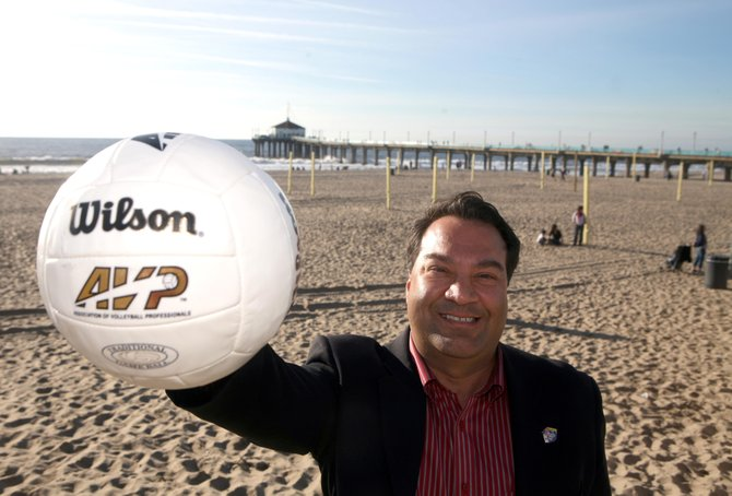 Manhattan Beach Mayor Richard Montgomery at volleyball courts along the city's shoreline.