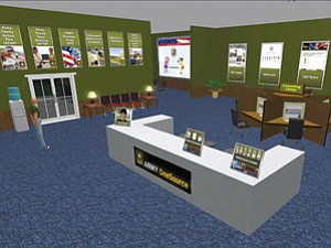 The Army OneSource virtual community delivers real-world information to soldiers in a simulated military base setting.