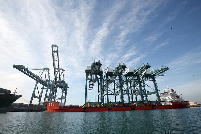 China Shipping cranes arrive at the Port of Los Angeles last week.