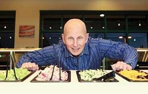 Garden Fresh CEO Michael Mack, shown at a Souplantation restaurant in the Rancho Bernardo area, says diners seem to like the custom-assembly concept. The concept lets customers see their meal being made. Mack's company opened this type of restaurant last week in Carlsbad.