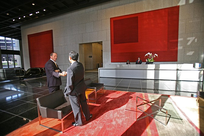The recently remodeled lobby at the Bank of America Plaza building in downtown Los Angeles.